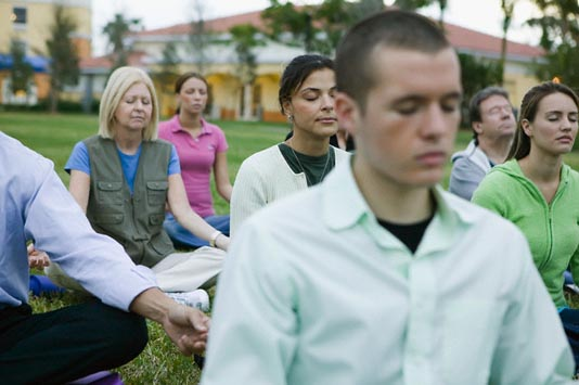 Group Meditating Together